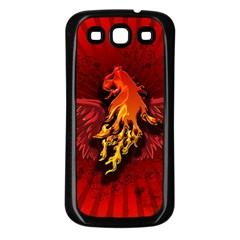 Lion With Flame And Wings In Yellow And Red Samsung Galaxy S3 Back Case (Black)