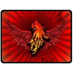 Lion With Flame And Wings In Yellow And Red Double Sided Fleece Blanket (Large)