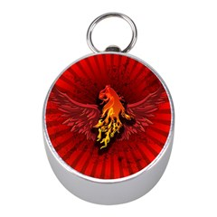 Lion With Flame And Wings In Yellow And Red Mini Silver Compasses