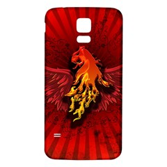 Lion With Flame And Wings In Yellow And Red Samsung Galaxy S5 Back Case (White)
