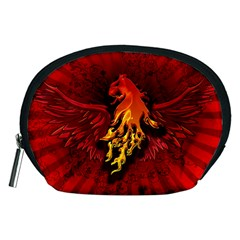 Lion With Flame And Wings In Yellow And Red Accessory Pouches (Medium)