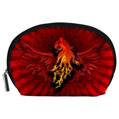 Lion With Flame And Wings In Yellow And Red Accessory Pouches (Large)