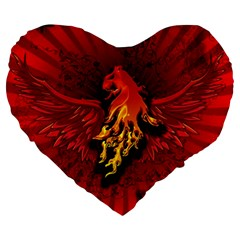 Lion With Flame And Wings In Yellow And Red Large 19  Premium Flano Heart Shape Cushions