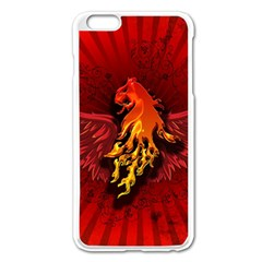 Lion With Flame And Wings In Yellow And Red Apple Iphone 6 Plus/6s Plus Enamel White Case