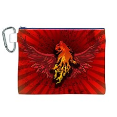 Lion With Flame And Wings In Yellow And Red Canvas Cosmetic Bag (XL)