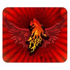 Lion With Flame And Wings In Yellow And Red Double Sided Flano Blanket (small)
