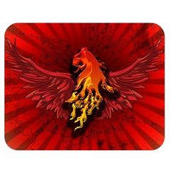 Lion With Flame And Wings In Yellow And Red Double Sided Flano Blanket (Medium)