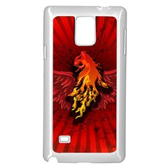 Lion With Flame And Wings In Yellow And Red Samsung Galaxy Note 4 Case (white)