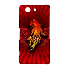 Lion With Flame And Wings In Yellow And Red Sony Xperia Z3 Compact