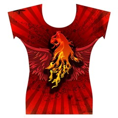 Lion With Flame And Wings In Yellow And Red Women s Cap Sleeve Top