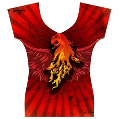 Lion With Flame And Wings In Yellow And Red Women s V-Neck Cap Sleeve Top