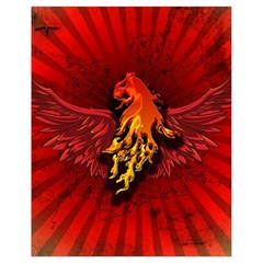 Lion With Flame And Wings In Yellow And Red Drawstring Bag (small)