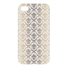 Gold tones vintage floral damasks pattern Apple iPhone 4/4S Hardshell Case