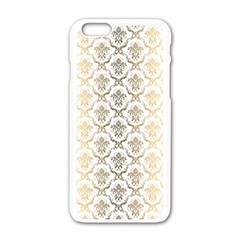 Gold tones vintage floral damasks pattern Apple iPhone 6/6S White Enamel Case
