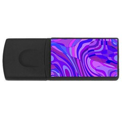 Retro Abstract Blue Pink USB Flash Drive Rectangular (2 GB)