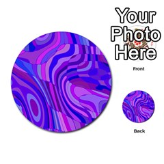 Retro Abstract Blue Pink Multi-purpose Cards (Round)