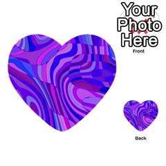Retro Abstract Blue Pink Multi Purpose Cards (heart)