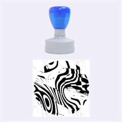 Retro Abstract Blue Pink Rubber Round Stamps (Medium)