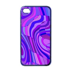 Retro Abstract Blue Pink Apple iPhone 4 Case (Black)
