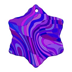 Retro Abstract Blue Pink Snowflake Ornament (2-Side)