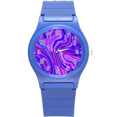 Retro Abstract Blue Pink Round Plastic Sport Watch (S)