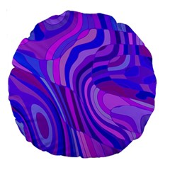Retro Abstract Blue Pink Large 18  Premium Round Cushions