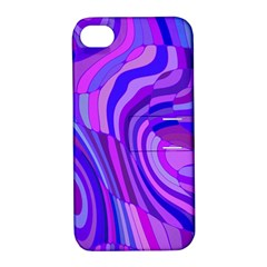 Retro Abstract Blue Pink Apple iPhone 4/4S Hardshell Case with Stand