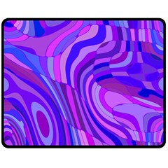 Retro Abstract Blue Pink Double Sided Fleece Blanket (Medium)