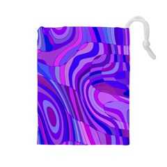 Retro Abstract Blue Pink Drawstring Pouches (Large)