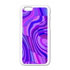 Retro Abstract Blue Pink Apple iPhone 6/6S White Enamel Case