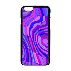 Retro Abstract Blue Pink Apple iPhone 6/6S Black Enamel Case