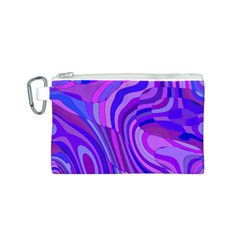 Retro Abstract Blue Pink Canvas Cosmetic Bag (S)
