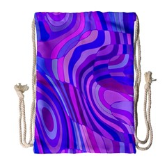 Retro Abstract Blue Pink Drawstring Bag (Large)