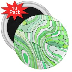 Retro Abstract Green 3  Magnets (10 pack)