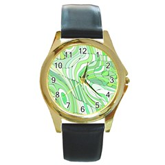 Retro Abstract Green Round Gold Metal Watches