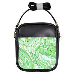 Retro Abstract Green Girls Sling Bags