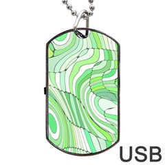 Retro Abstract Green Dog Tag Usb Flash (one Side)