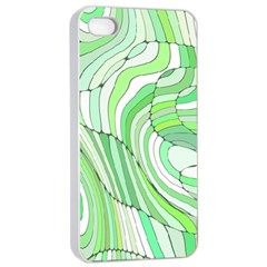 Retro Abstract Green Apple iPhone 4/4s Seamless Case (White)