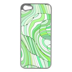 Retro Abstract Green Apple iPhone 5 Case (Silver)