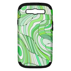 Retro Abstract Green Samsung Galaxy S III Hardshell Case (PC+Silicone)