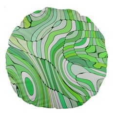 Retro Abstract Green Large 18  Premium Round Cushions