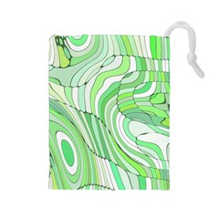 Retro Abstract Green Drawstring Pouches (Large)