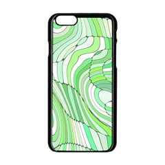 Retro Abstract Green Apple iPhone 6/6S Black Enamel Case