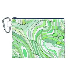 Retro Abstract Green Canvas Cosmetic Bag (l)