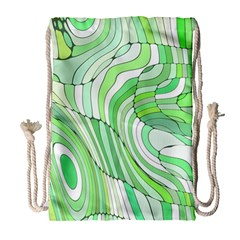 Retro Abstract Green Drawstring Bag (Large)