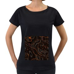 Retro Abstract Orange Black Women s Loose-Fit T-Shirt (Black)