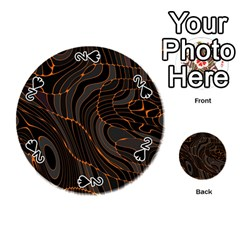 Retro Abstract Orange Black Playing Cards 54 (Round)