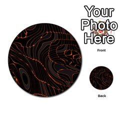 Retro Abstract Orange Black Multi-purpose Cards (Round)