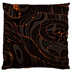 Retro Abstract Orange Black Large Flano Cushion Cases (two Sides)