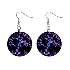 Splatter Blue Pink Mini Button Earrings
